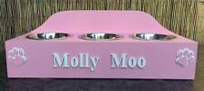 HANDMADE WOODEN PERSONALISED TRIPLE RAISED DOG/CAT BOWL WITH BOWLS