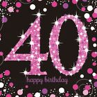 16 x Pink Celebration Age 40 Napkins Pink & Black 40th Birthday Napkins FREE P&P