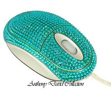 Turquoise Blue Crystal Optical Computer Wired Desk Mouse w/ Swarovski Crystals