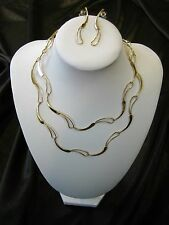 14K Yellow Gold Modernist Abstract Chain Swirl Link Necklace & Earring Set