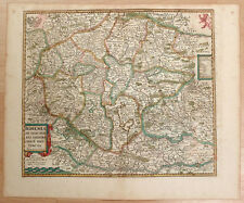 Carte c1650 JANSSONIUS in-folio map couleurs BOHÊME Moravie Bavière Autriche 22
