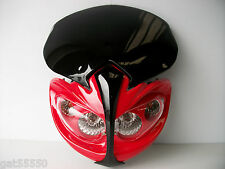 NEW UNIVERSAL MOTORCYCLE HEADLIGHT STREETFIGHTER ENDURO ALIEN RED HONDA CBR CRF