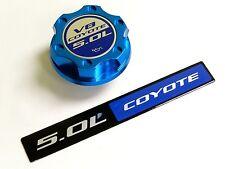 FORD MUSTANG GT 5.0L COYOTE V8 ENGINE BLUE LOGO BILLET ENGINE OIL CAP + EMBLEM