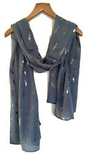 METALLIC FEATHER PRINT SCARF WRAP GREY BLUE WITH BLACK AND GOLD FOIL FERN PRINT