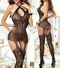 Sexy Teddies Fish Net Babydoll Set Lingerie Underwear Dress BODYSTOCKING GARTER