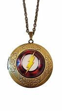 "DC Comics The FLASH Logo Glass Dome Locket PENDANT on 22"" Chain"