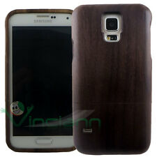 Custodia cover in VERO LEGNO p Samsung Galaxy S5 G900F neo G903F case wood nuova
