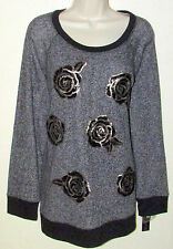 Womans Plus 1X Floral Sequin French Terry Sweatshirt Apt. 9 New with Tags