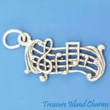 MUSIC SCALE SCORE Musical TREBLE CLEF AND NOTES .925 Sterling Silver Charm