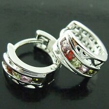 AN172 GENUINE REAL 18K WHITE G/F GOLD ANTIQUE MULTI COLOUR CZ GEMS HOOP EARRINGS