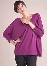 SIZE XL EILEEN FISHER ROSA MERINO JERSEY V-NECK LONG BOX-TOP NWT