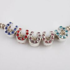 10pcs Bulk Colorful Rhinestones Horseshoe Charms Beads Fit European Bracelet J