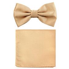 New formal men's pre tied Bow tie & Pocket Square Hankie solid beige wedding