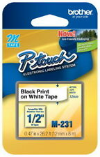 "NEW Brother M231 P-Touch Label Tape, 1/2"" Black on White M Series M-231, MK231s"