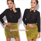 Womens Sexy Club Skirt Mini Gold Spikes Elastic Stretchy Bodycon S M L