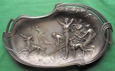 c1900 WMF Art Nouveau Classical Greek Diana Stag Hunting Procession Card Tray
