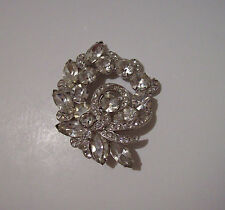 GLAM Vintage Eisenberg Ice Signed Rhinestone Crystal Cluster Ribbon Brooch Pin