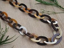 "Genuine Horn & Wood Necklace 38"" Long Natural Horn Material Oval Chain H.N37"