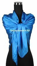 "New Extra Large Square 42""x42"" Luxurious 100% Pure Silk Scarf Shawl, Sky Blue"
