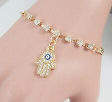 Personality Hamsa Gold Bracelet Evil Eye Charm Bangle Crystal Rhinestone Jewelry