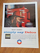 1961 GM General Motors United Delco Battery Ad Fireman Firefighter Theme