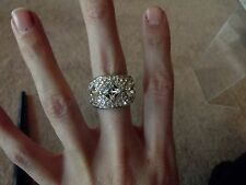 Size 6 Ring womens Silver Tone rhinestone crystal square cut art deco Signed PJM