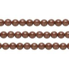 Round Malaysia Jade Beads (Dyed) Brown 4mm 16 Inch Strand