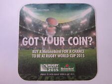 Beer Bar Coaster ~ HEINEKEN Brewing 2015 Rugby World Cup Worldwide Sport Partner