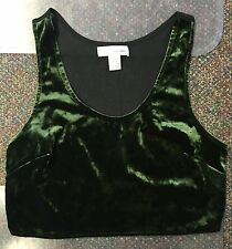 Band of Gypsies FOREST GREEN VELVET crop tank top sheer back Urban Outfitters S