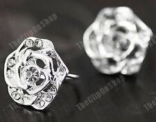 COMFY U CLIP ON silver ROSE CRYSTAL studs STUD EARRINGS