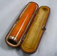 Antique 14k gold amber cigarette holder in original case