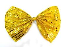Gold Clown Jumbo Large Glitter Sparkly Sequin Party Costume Fancy Dress Bow Tie