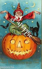 Fabric Block Vintage Halloween Postcard Image Witch Pumpkin