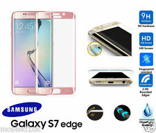 Samsung Galaxy S7 Edge 3D or rose galbé trempé lcd protection d'écran verre