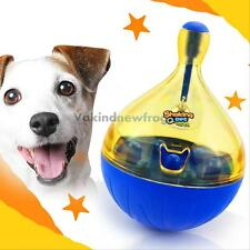 Funny Dog Toys Tumbler Leakage Food Toy Bell Drain Tableware for Puppy Play Game
