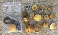 "Lot of 16 Vintage Metal Buttons Gold Coat Of Arms, Star, Anchor 3/4"" Shank Style"