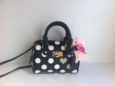Betsey Johnson mini barrel black white polkadot crossbody handbag purse New!
