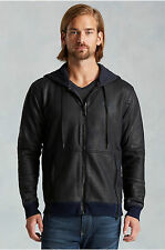 NWT TRUE RELIGION JEANS $229 MENS JET BLACK COATED MOTO HOODIE JACKET SZ XL
