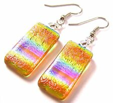 DICHROIC Glass EARRINGS Amber Blue Orange Tie Dye Patterned Dangle Surgical 1""
