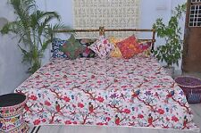 Handmade White tropical Quilt.  Kantha Bedspread, Bird pattern.King Size