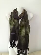 CASHMERE SCARF CHEVRON DESIGN COLOR GREEN SUPER SOFT UNISEX