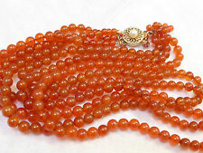 VINTAGE CHINESE 3 STAND CARNELIAN 5mm BEAD NECKLACE, STERLING CLASP