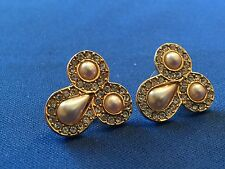 Faux Pearl With Rhinestones Gold Tone Post Earrings