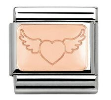 FLYING HEART Genuine Nomination Classic 9mm Italian Charm  Rose Gold LOVE WINGS