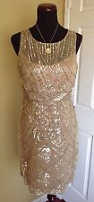 NEW SUE WONG  BEIGE GOLD SEQUINS BEADED COCKTAIL COCKTAIL EVENING DRESS 12 NWT
