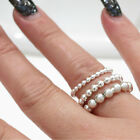 Size 8 925 Sterling Silver Ball Bead Bubble Stackable Stacking Ring Band
