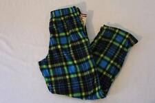 NEW Boys Fleece Lounge Pants Medium 8 - 10 Blue Green Plaid Pockets Pajamas PJ
