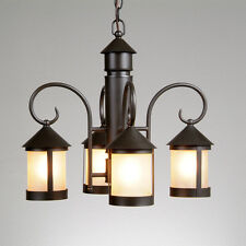 Mission four Light Ceiling Chandelier Dark Bronze 100 watt Tea Stain Glass
