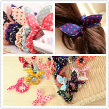 Sweet Cute 10pcs Rabbit Bunny Ear Polka Dot Hair Bands Scrunchie Elastic