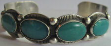 VINTAGE FRED HARVEY NAVAJO INDIAN STAMPED DESIGNS SILVER TURQUOISE CUFF BRACELET